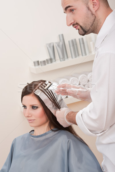 Professional hairdresser color customer at salon Stock photo © CandyboxPhoto
