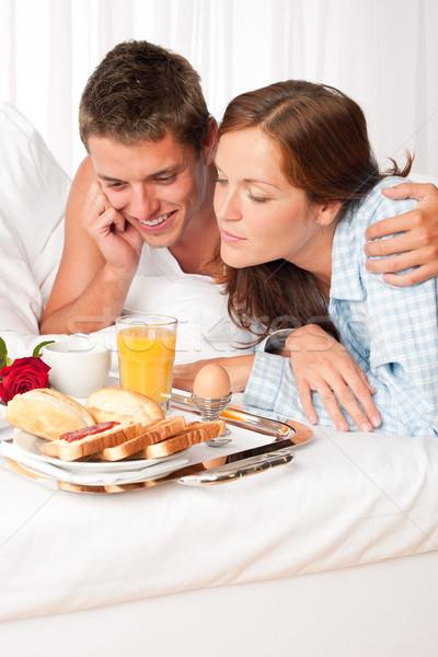 Stockfoto: Gelukkig · man · vrouw · ontbijt · bed · samen