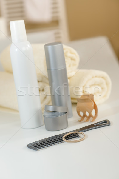 Bathroom hair care products and towels close-up  Stock photo © CandyboxPhoto