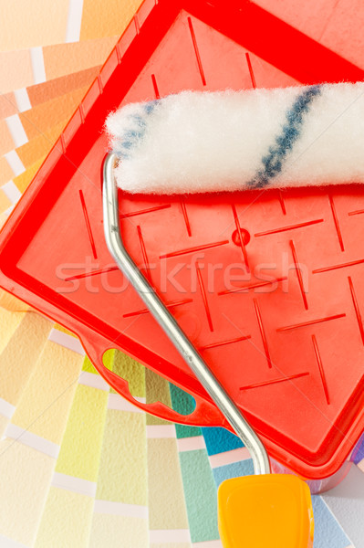 Tint card, paint roller and tray Stock photo © CandyboxPhoto