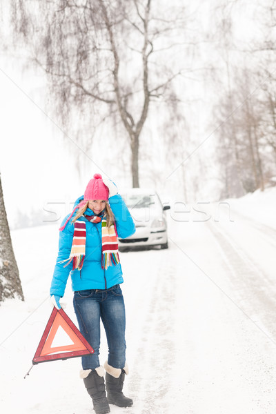 Woman with warning triangle car snow breakdown Stock photo © CandyboxPhoto