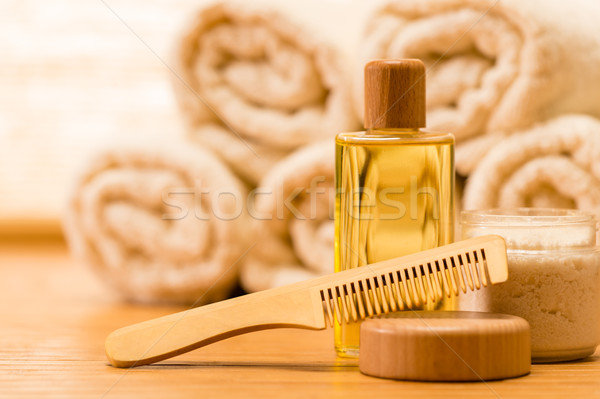 Spa body care products wooden hair comb Stock photo © CandyboxPhoto