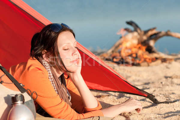 Camping woman relax in tent by campfire Stock photo © CandyboxPhoto