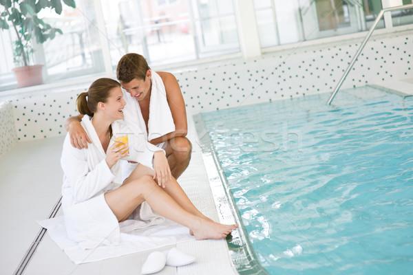Yüzme havuzu genç mutlu çift dinlenmek su Stok fotoğraf © CandyboxPhoto