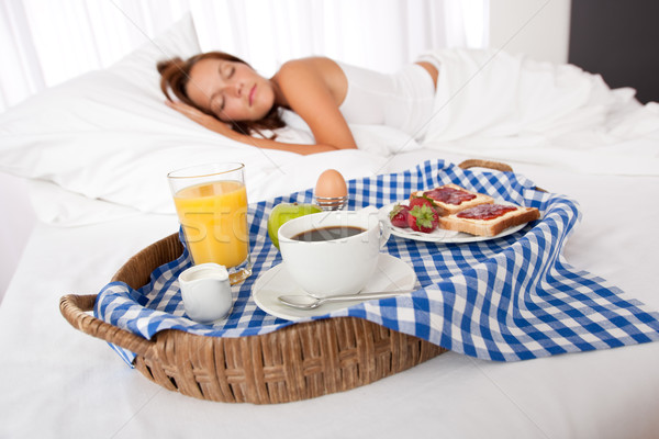Young woman having home made breakfast Stock photo © CandyboxPhoto