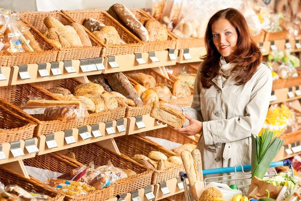 épicerie jeune femme pain supermarché costume Photo stock © CandyboxPhoto