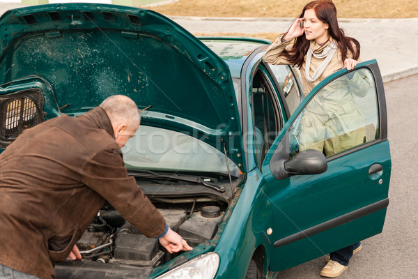 Car breakdown woman calling for road assistance Stock photo © CandyboxPhoto