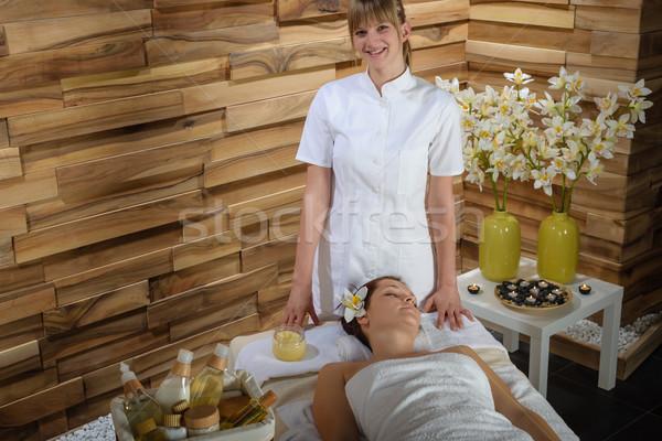 Female masseur give beauty treatment luxury spa Stock photo © CandyboxPhoto
