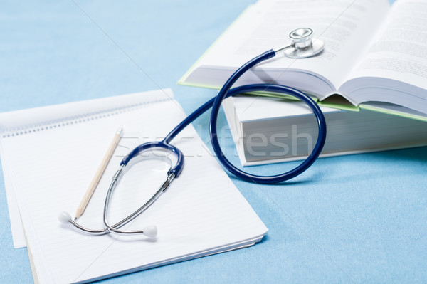 Medical research stethoscope on doctor books Stock photo © CandyboxPhoto