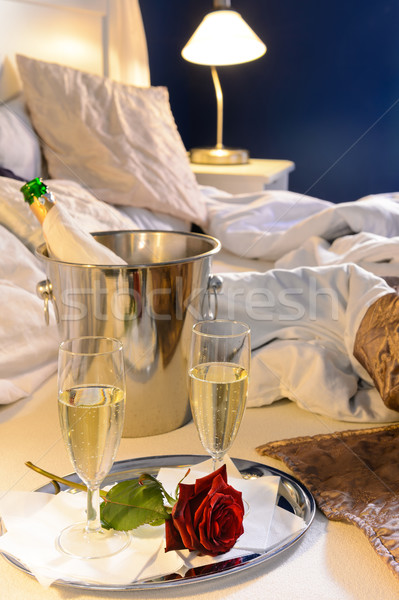 Champagne rose bed celebrate special occasion bedroom Stock photo © CandyboxPhoto