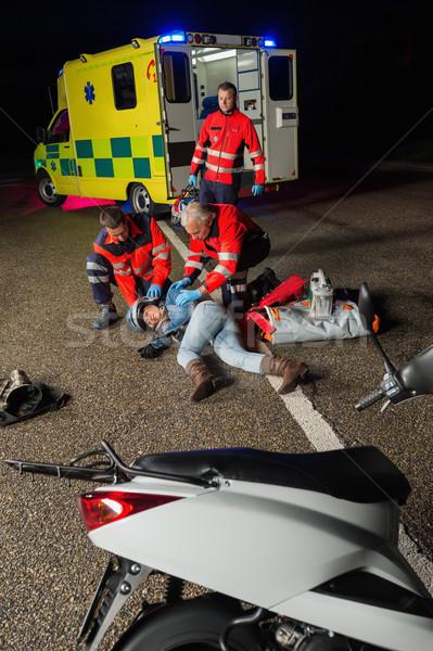 Herido moto conductor mujer carretera Foto stock © CandyboxPhoto