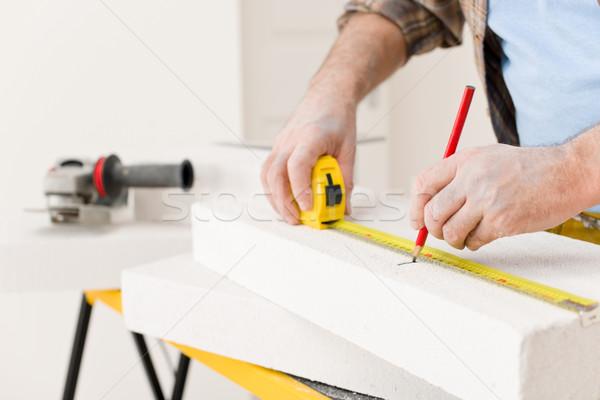 Foto stock: Melhoramento · da · casa · handyman · medir · tijolo · oficina · ferramenta