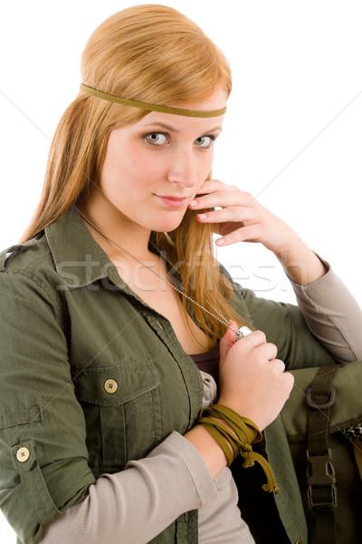 Hippie young woman khaki outfit fashion portrait Stock photo © CandyboxPhoto