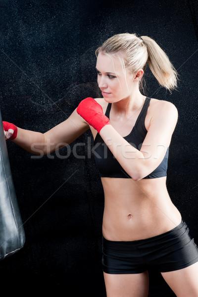 Box képzés szőke nő homokzsák sport Stock fotó © CandyboxPhoto
