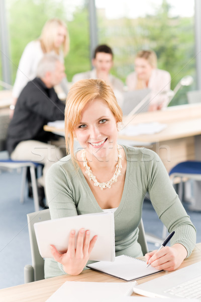 Young business students - businesswoman in front Stock photo © CandyboxPhoto