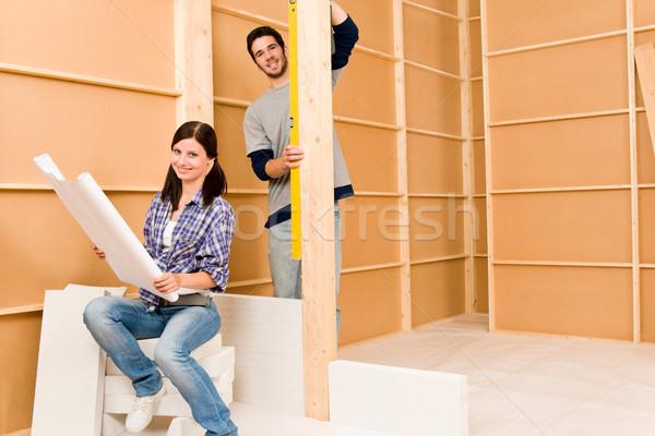 Home improvement blauwdrukken gelukkig bouwkundig Stockfoto © CandyboxPhoto