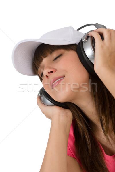Сток-фото: счастливым · женщины · подростку · наслаждаться · музыку · наушники