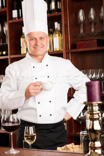 Chef cook relax coffee break restaurant Stock photo © CandyboxPhoto