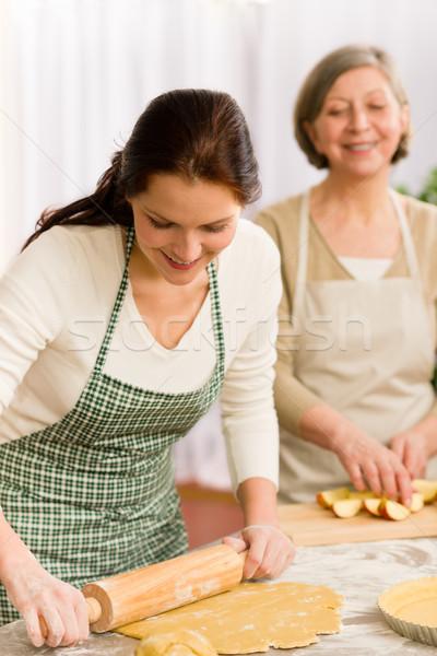 Happy woman making dough for apple pie Stock photo © CandyboxPhoto