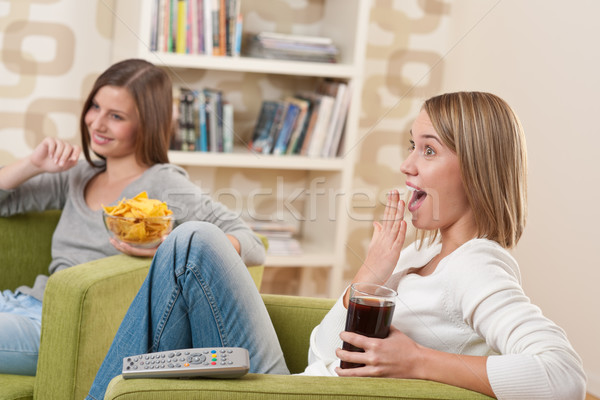 Students - Two female teenager watching television Stock photo © CandyboxPhoto