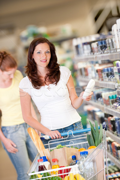 Shopping series - Brown hair woman with cart Stock photo © CandyboxPhoto