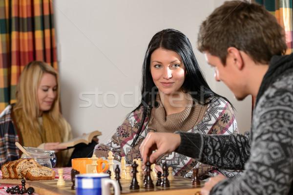 Oynamak satranç kış kulübe Stok fotoğraf © CandyboxPhoto