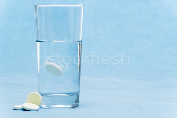 Soluble tablet throw in water glass Stock photo © CandyboxPhoto