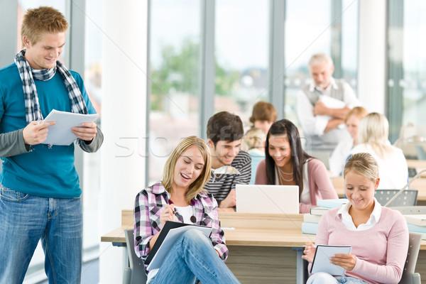 Stock fotó: Csoport · diákok · osztályterem · tanulás · középiskola · tanár