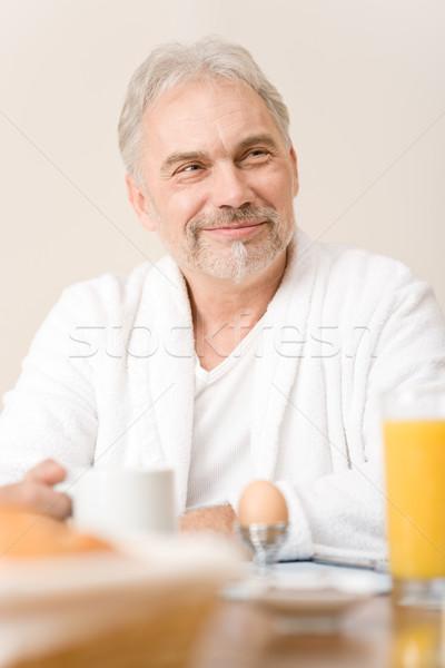 シニア 成熟した男 朝食 ホーム オレンジジュース コーヒー ストックフォト © CandyboxPhoto