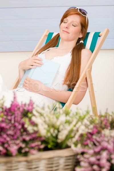 夏 テラス 女性 リラックス デッキチェア ストックフォト © CandyboxPhoto