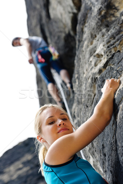 Rock climbing male instructor woman hang rope Stock photo © CandyboxPhoto