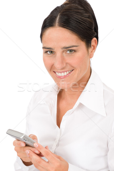 Smiling businesswoman attractive hold phone Stock photo © CandyboxPhoto