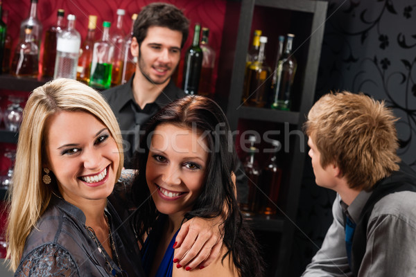 Girl friends at the bar hugging together Stock photo © CandyboxPhoto