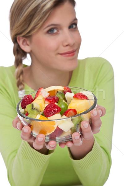 Foto stock: Mulher · salada · de · frutas · branco · foco