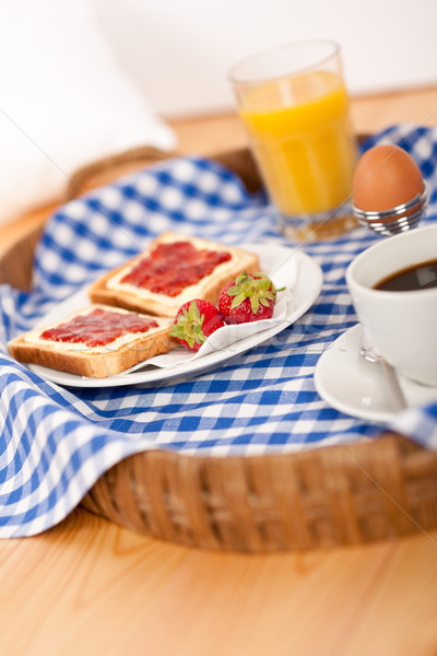 Homemade breakfast on wicker tray with checked teacloth Stock photo © CandyboxPhoto