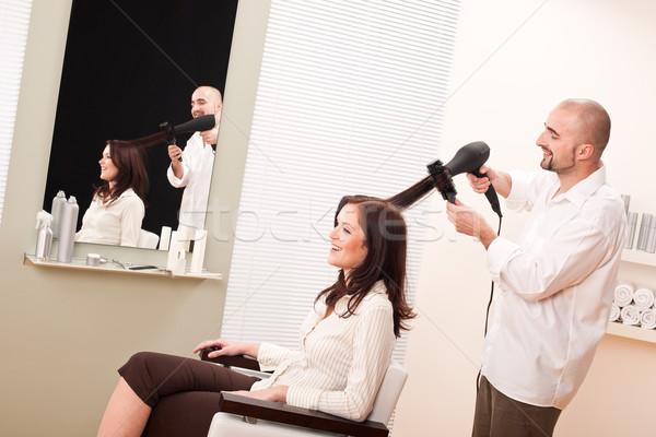 профессиональных парикмахер фен салона клиентов мужчины Сток-фото © CandyboxPhoto