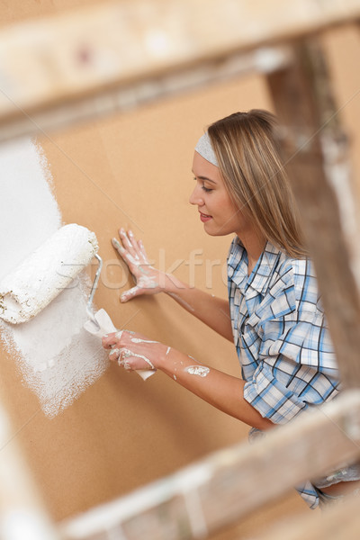 Mejoras para el hogar mujer pintura pared pintura Foto stock © CandyboxPhoto