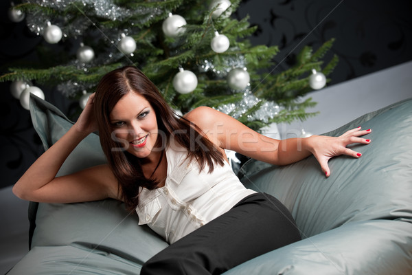 Provocative sexy woman posing in front of Christmas tree Stock photo © CandyboxPhoto