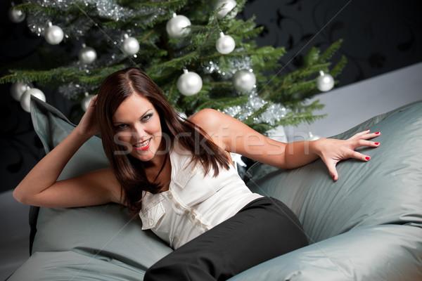 Prowokacyjny sexy kobieta stwarzające choinka srebrny odznaczony Zdjęcia stock © CandyboxPhoto