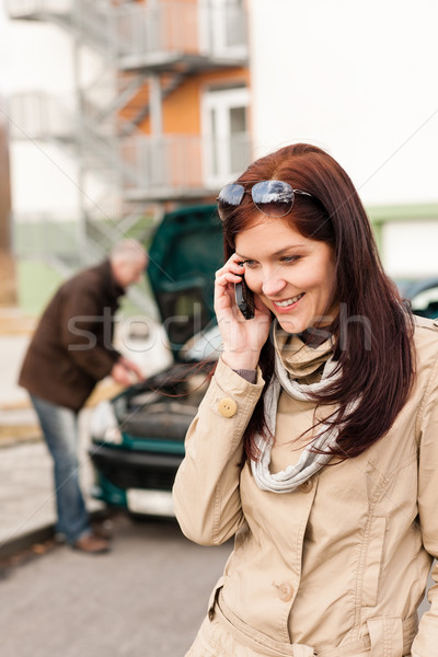 Woman on the phone repairman fixing car Stock photo © CandyboxPhoto