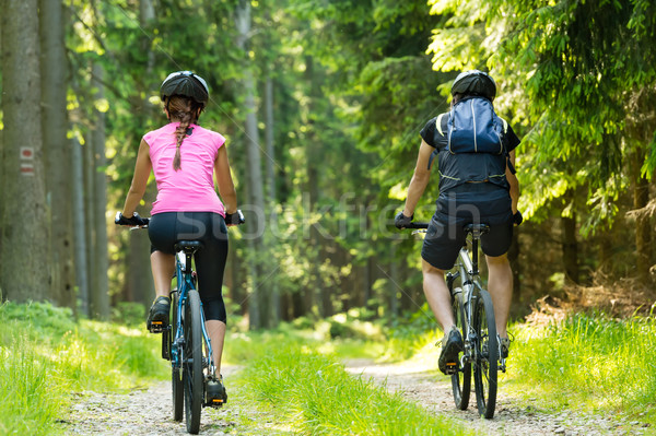 Bikers in forest cycling on track Stock photo © CandyboxPhoto