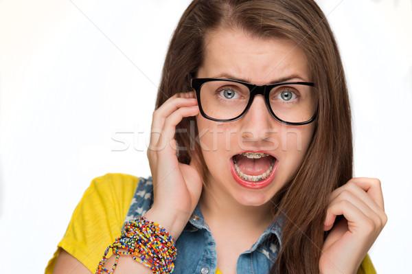 Stok fotoğraf: Kız · pantolon · askısı · geek · gözlük · yalıtılmış