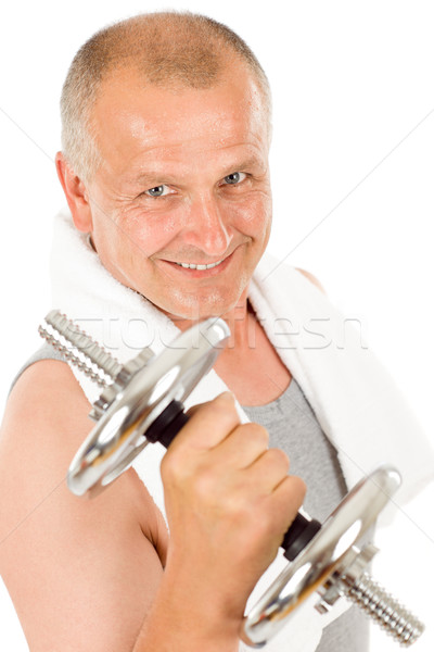Feliz homem maduro halteres retrato caber Foto stock © CandyboxPhoto