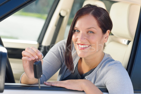 Attractive businesswoman in new car showing keys Stock photo © CandyboxPhoto