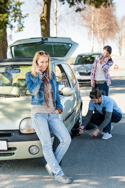 Wheel defect man helping two female friends Stock photo © CandyboxPhoto