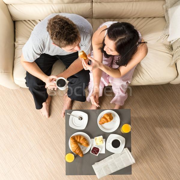 Gondtalan pár eszik reggeli együtt reggel Stock fotó © CandyboxPhoto