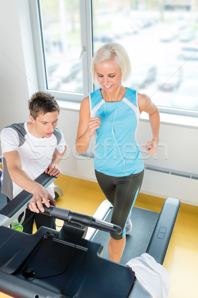 Young fitness instructor woman running at gym Stock photo © CandyboxPhoto