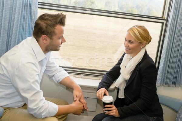 女性 男 列車 話し 笑みを浮かべて ストックフォト © CandyboxPhoto