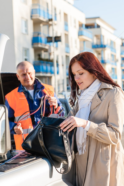 Woman searching her purse mechanic fixing car Stock photo © CandyboxPhoto