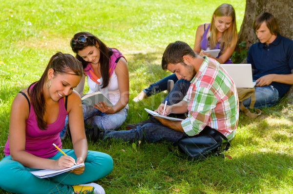 Students sitting in park studying reading writing Stock photo © CandyboxPhoto